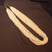 REDUCED Vintage White Multi-Strand Seed Bead Necklace