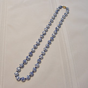Vintage Blue & White Glass Bead Strand Necklace