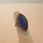 Sterling Silver and Marquis Cut Blue Glass Ring