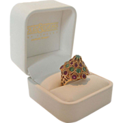 SALE Yellow Gold, Ruby and Emerald Princess Ring