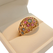 SALE 14kt Yellow Gold, Ruby and Sapphire Ring