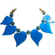 Artisan Blue Chinese Dyed Jade Hearts Necklace with Crystal Clusters and Vintage Beads