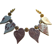 Earthtone Artisan Necklace of Jasper Hearts Crystal Clusters and Vintage Beads - Browns and Go