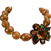 SOLD Vintage Gold Beads and Vendome Brooch Necklace - One of a Kind