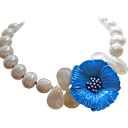 Vintage Blue Flower Brooch Necklace of White Shell Pearls - Mother of Pearl - and Inlay Shell