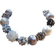 White and Gray Cotton Pearl Necklace with Silver Tone and Black Crystal Clusters
