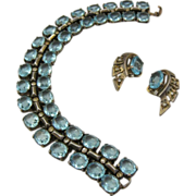 Vintage 1940's Trifari Sterling Aquamarine Rhinestone Bracelet and earrings Book PIece