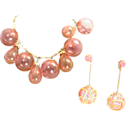 Pink Bubble necklace with tear drops and earrings