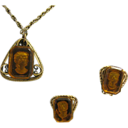 Reverse carved Amber glass Cameo Necklace and earrings