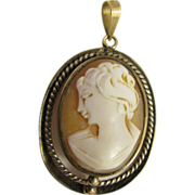 SALE Beautiful Carved Shell Cameo with gold and silver frame