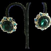 Large Kelly green Clip on Earrings