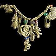 "SALE Vintage 26"" Long brass Charm Necklace"