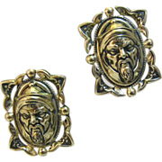 SALE Whiting and Davis Asian Man face earrings