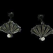 Vintage Sterling silver fan earrings