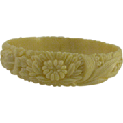 Creamy white Celluloid Bangle Roses, Daisies, Chrysanthemum and Lily of the Valley