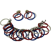 Patriotic dangle bracelet and earrings Red white and blue