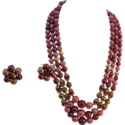 Vintage 1950's beaded Necklace and earrings in pinks