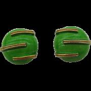 Robert wonderful lime green enameled button earrings