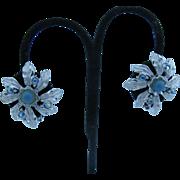 Judy Lee frosted silver tone flower petal earrings