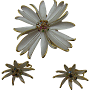 Park Lane Pin and earring set Flower with rhinestone star burst