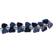 Lisner Moon glow two tone Thermoset Leaf Bracelet