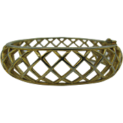 Trifari open weave diamond pattern Bracelet