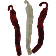 SOLD Fuzzy Chenille icicles in red and white