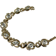 Trifari Bracelet gold tone with clear rhinestones