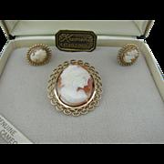 Krementz Shell Cameo Brooch and earrings
