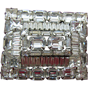 Weiss Very large Clear Rhinestone Brooch