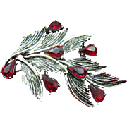 Unique 11 W. 30th ST. ( DODDS ) leaf brooch with ruby red tear drops