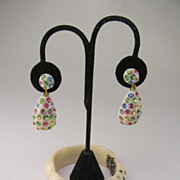 SALE Unsigned Weiss Clamper and dangle earrings Easter egg colored stones