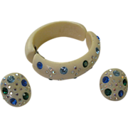 SALE Weiss Thermo plastic and Rhinestone clamper bracelet and earrings