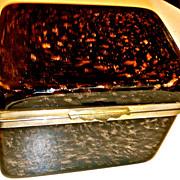 Vintage murano Glass  Hinged box, Dark brown with gold flecks