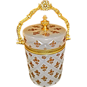 French white Opaline Glass box  Carved crisscross design with starburst top.  Gilded Bronze mo