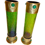 Antique Pair Loetz Vases.Secessionist Style , Set with stones