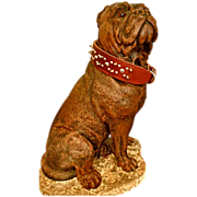 SALE 19th c CHALKWARE DOG , Very Large w/ Glass Eyes and Leather collar