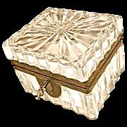 Antique cut crystal box w/ key
