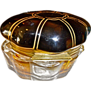 SALE Black opaline glass topped Box w/amber  cut to   baseclear