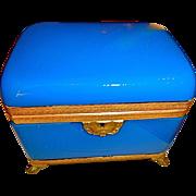 Antique French Opaline BlueBox Large , Bronze mounts,feet,Key