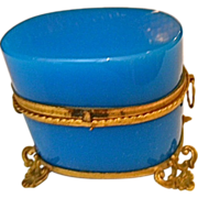Antique French Opaline Glass Box Wonderful Bronze Mounts,Feet and Handles