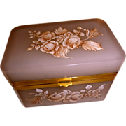 Opaline glass box in palest blush color w/ enameled flowers