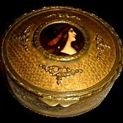 Antique French Bronze box w/ enamel painting