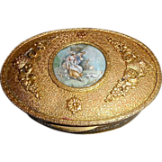 Antique bronze box with miniature painting on top