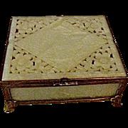 Vintage Serpentine Jade box, bronze mounts carved design