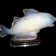 Vintage Sabino Glass Fish Lamp on chrome Base C.1925