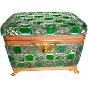 Large cut crystal clear and green box bronze mounts
