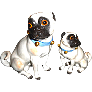 Pair of Exceptional Meissen Pug Dogs Mother and Pup