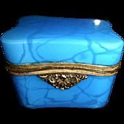 Antique Opaline glass Box, Serpentine shape