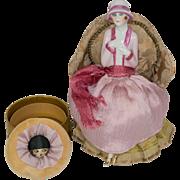 SALE Extraordinary German Fasold & Stauch Half Doll with Legs Away on Powder Box with Powder .